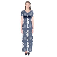 Seahorse And Shell Pattern Short Sleeve Maxi Dress
