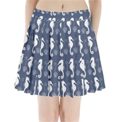 Seahorse And Shell Pattern Pleated Mini Skirt