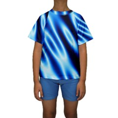 Grunge Blue White Pattern Background Kids  Short Sleeve Swimwear