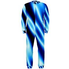 Grunge Blue White Pattern Background OnePiece Jumpsuit (Men)