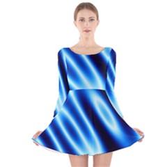 Grunge Blue White Pattern Background Long Sleeve Velvet Skater Dress
