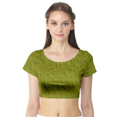 Olive Bubble Wallpaper Background Short Sleeve Crop Top (Tight Fit)