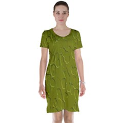 Olive Bubble Wallpaper Background Short Sleeve Nightdress