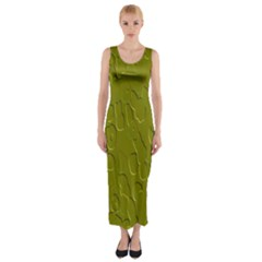 Olive Bubble Wallpaper Background Fitted Maxi Dress