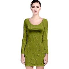 Olive Bubble Wallpaper Background Long Sleeve Velvet Bodycon Dress