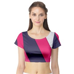 Pink Pattern Short Sleeve Crop Top (Tight Fit)