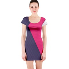 Pink Pattern Short Sleeve Bodycon Dress