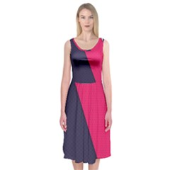 Pink Pattern Midi Sleeveless Dress