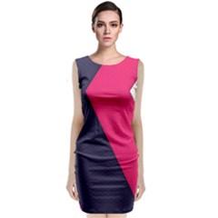 Pink Pattern Classic Sleeveless Midi Dress