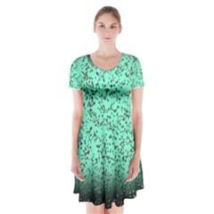 Grunge Rain Frame Short Sleeve V-neck Flare Dress