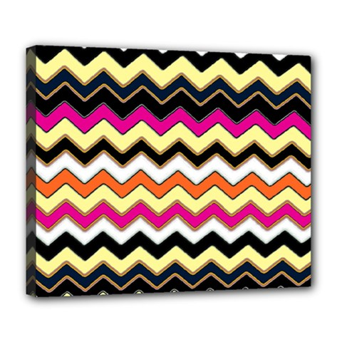 Colorful Chevron Pattern Stripes Pattern Deluxe Canvas 24  x 20