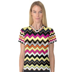 Colorful Chevron Pattern Stripes Pattern Women s V Neck Sport Mesh Tee