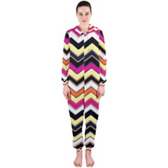 Colorful Chevron Pattern Stripes Pattern Hooded Jumpsuit (Ladies)