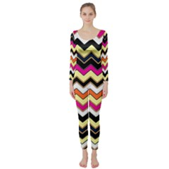 Colorful Chevron Pattern Stripes Pattern Long Sleeve Catsuit