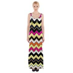 Colorful Chevron Pattern Stripes Pattern Maxi Thigh Split Dress