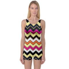 Colorful Chevron Pattern Stripes Pattern One Piece Boyleg Swimsuit