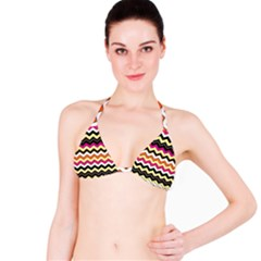 Colorful Chevron Pattern Stripes Pattern Bikini Top