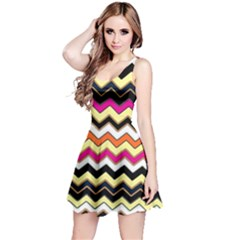 Colorful Chevron Pattern Stripes Pattern Reversible Sleeveless Dress
