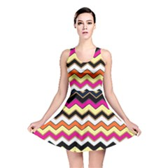 Colorful Chevron Pattern Stripes Pattern Reversible Skater Dress