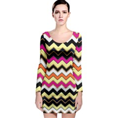 Colorful Chevron Pattern Stripes Pattern Long Sleeve Bodycon Dress