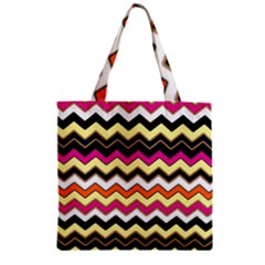 Colorful Chevron Pattern Stripes Pattern Zipper Grocery Tote Bag