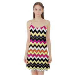 Colorful Chevron Pattern Stripes Pattern Satin Night Slip
