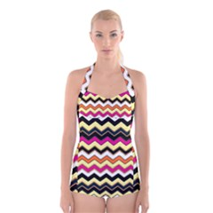Colorful Chevron Pattern Stripes Pattern Boyleg Halter Swimsuit