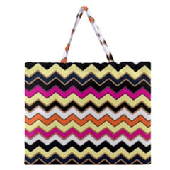 Colorful Chevron Pattern Stripes Pattern Zipper Large Tote Bag