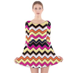 Colorful Chevron Pattern Stripes Pattern Long Sleeve Velvet Skater Dress