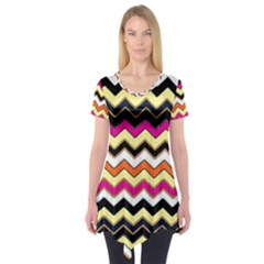 Colorful Chevron Pattern Stripes Pattern Short Sleeve Tunic