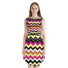 Colorful Chevron Pattern Stripes Pattern Sleeveless Chiffon Dress