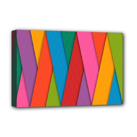 Colorful Lines Pattern Deluxe Canvas 18  x 12
