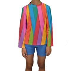 Colorful Lines Pattern Kids  Long Sleeve Swimwear