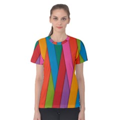 Colorful Lines Pattern Women s Cotton Tee