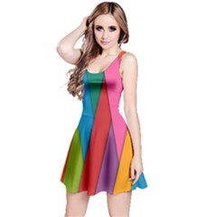 Colorful Lines Pattern Reversible Sleeveless Dress