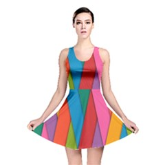 Colorful Lines Pattern Reversible Skater Dress