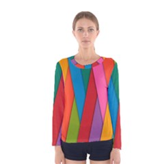 Colorful Lines Pattern Women s Long Sleeve Tee