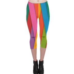 Colorful Lines Pattern Capri Leggings