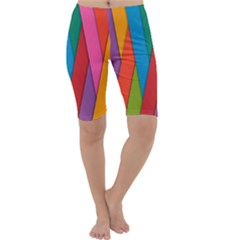 Colorful Lines Pattern Cropped Leggings