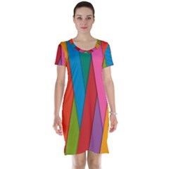 Colorful Lines Pattern Short Sleeve Nightdress