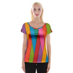 Colorful Lines Pattern Women s Cap Sleeve Top