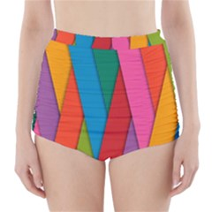 Colorful Lines Pattern High Waisted Bikini Bottoms