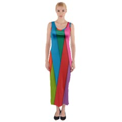 Colorful Lines Pattern Fitted Maxi Dress