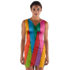 Colorful Lines Pattern Wrap Front Bodycon Dress