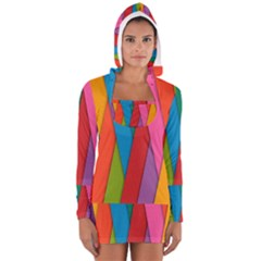 Colorful Lines Pattern Women s Long Sleeve Hooded T-shirt