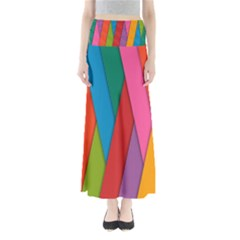 Colorful Lines Pattern Maxi Skirts