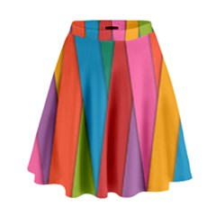 Colorful Lines Pattern High Waist Skirt