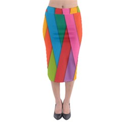 Colorful Lines Pattern Midi Pencil Skirt