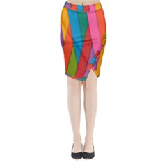 Colorful Lines Pattern Midi Wrap Pencil Skirt