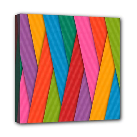 Colorful Lines Pattern Mini Canvas 8  X 8
